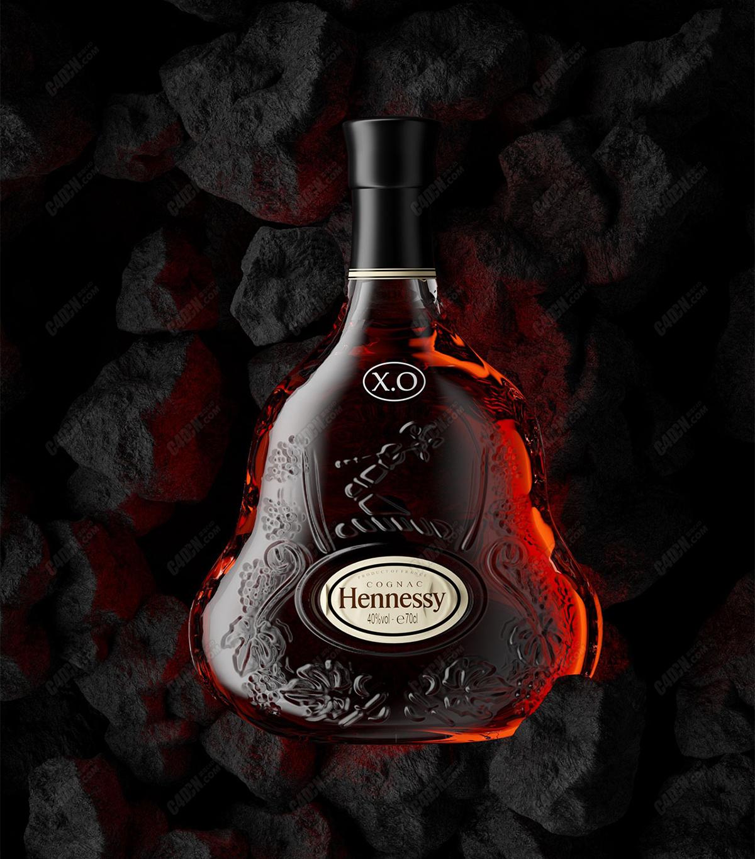 C4D洋酒红酒瓶石头岩石背景素材模型