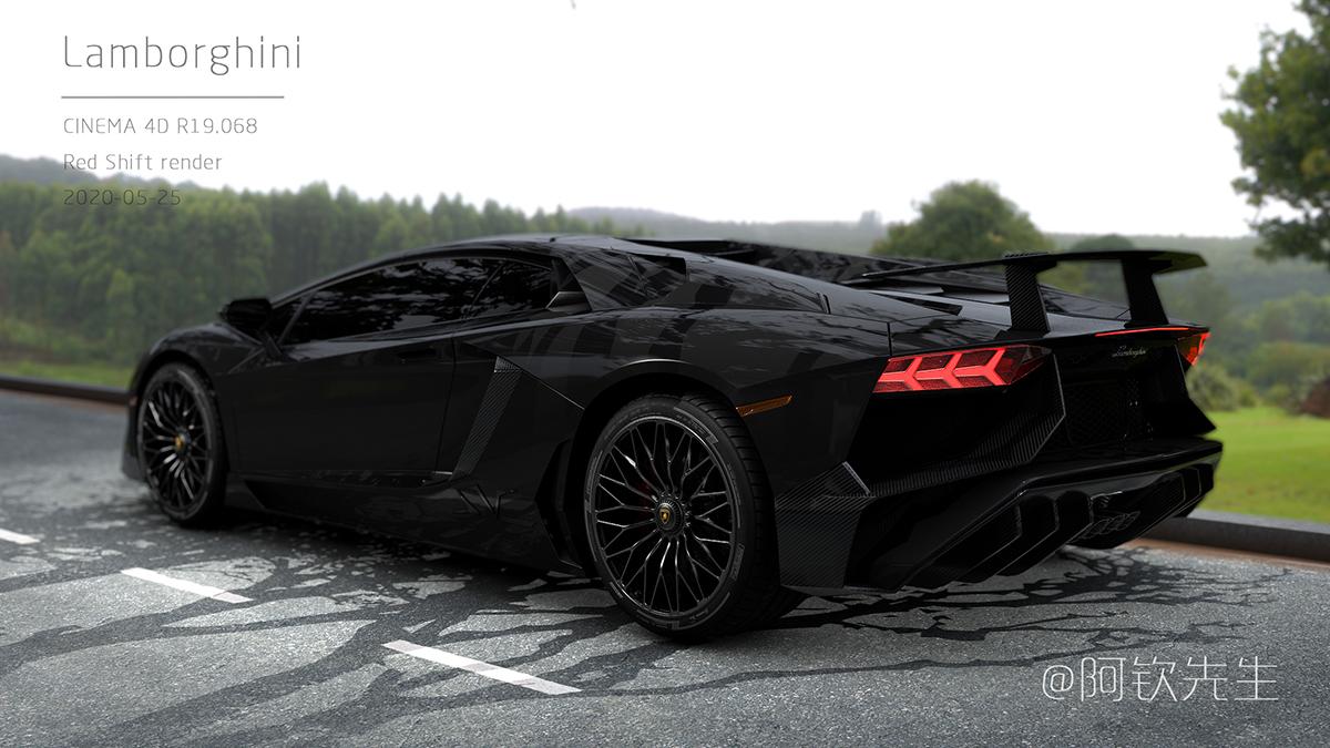 兰博基尼写实渲染,汽车写实渲染