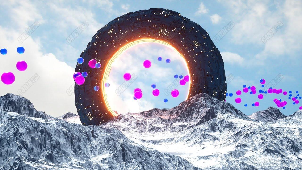 Octane渲染器制作逼真宇宙飛船降落在雪山科幻場景C4D教程