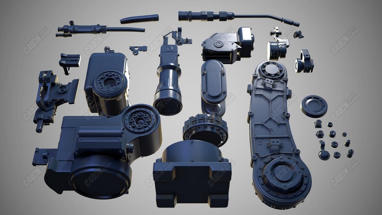 C4D复杂机械机器零件组合模型素材 C4D model of machine parts