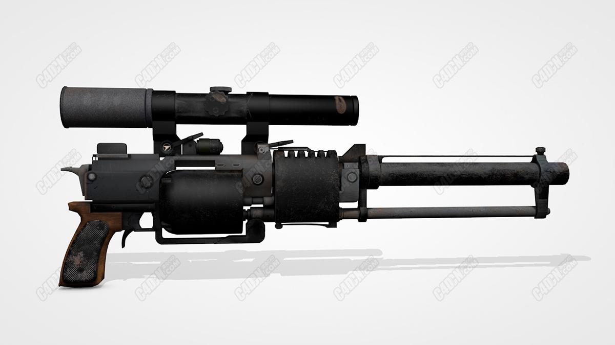 C4D复古瞄准镜手枪武器模型 Trash GUN