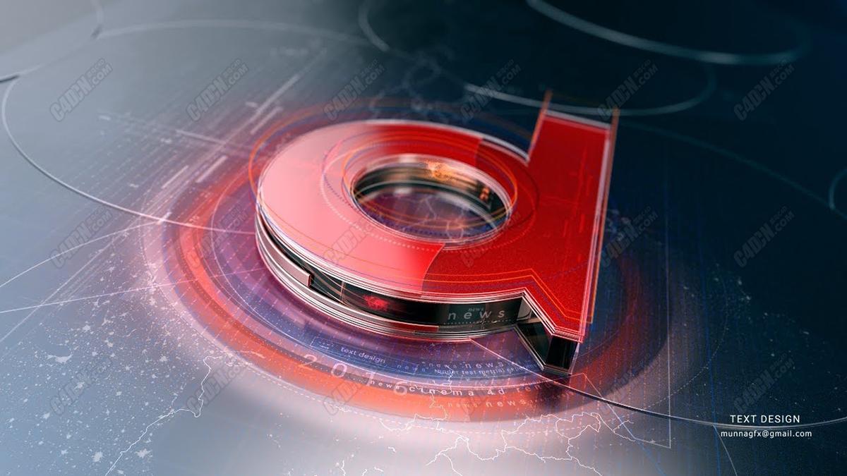 C4D+AE高级玻璃材质栏目包装合成教程