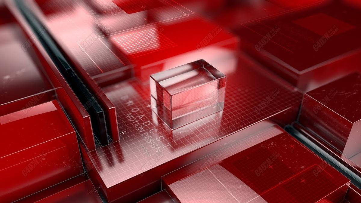 C4D华丽电视包装红色风格玻璃材质AE合成教程