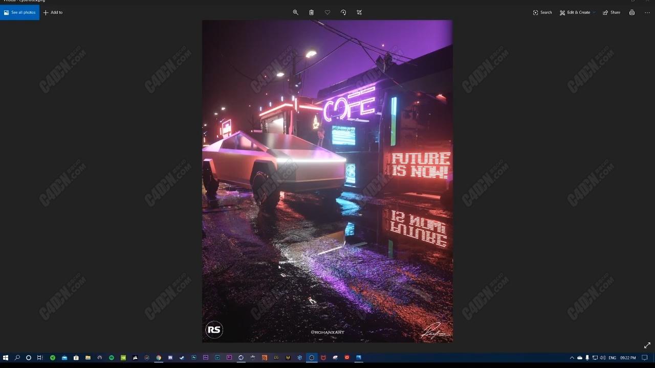 C4D夜晚霓虹灯下湿漉漉地面水坑材质OC渲染器教程