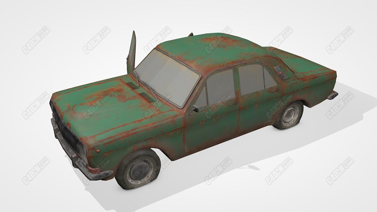 C4D生锈的报废汽车模型 Old Soviet Car
