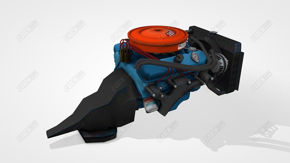 C4D汽车发动机模型 MOPAR V8