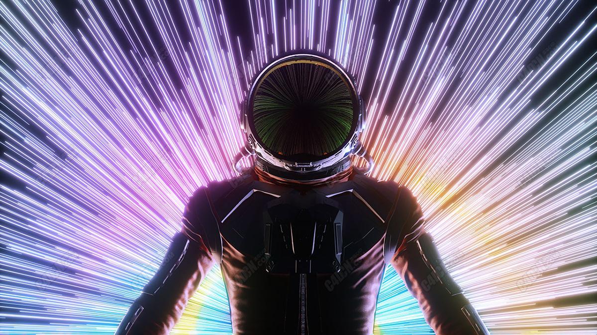 C4D七彩光线侠的宇航员科幻场景模型