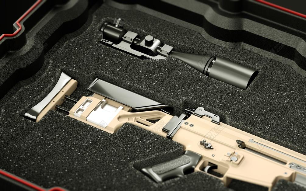 FN SCAR 20S自动步枪C4D模型