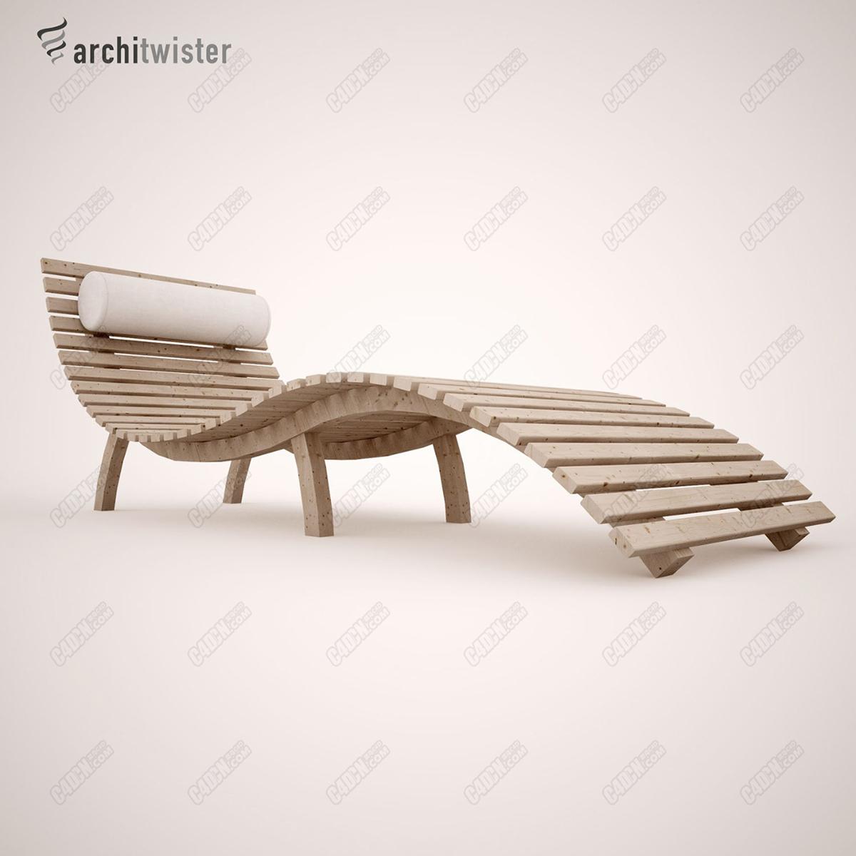 C4D竹板躺椅家具模型