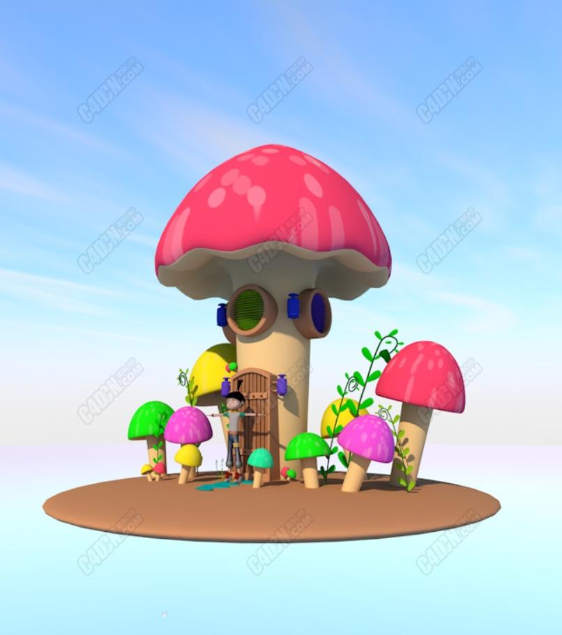 蘑菇房低多边形