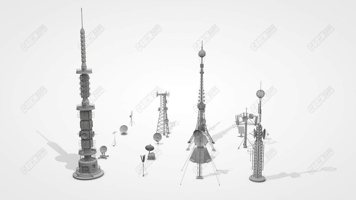 20组C4D电视台天线信号塔卫星通讯器模型合集