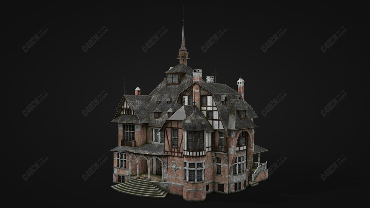 C4D模型-建筑老庄园别墅房屋