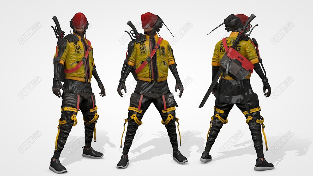 C4D模型-赛博朋克未来派战士武士人物 Cyberpunk Mercenary