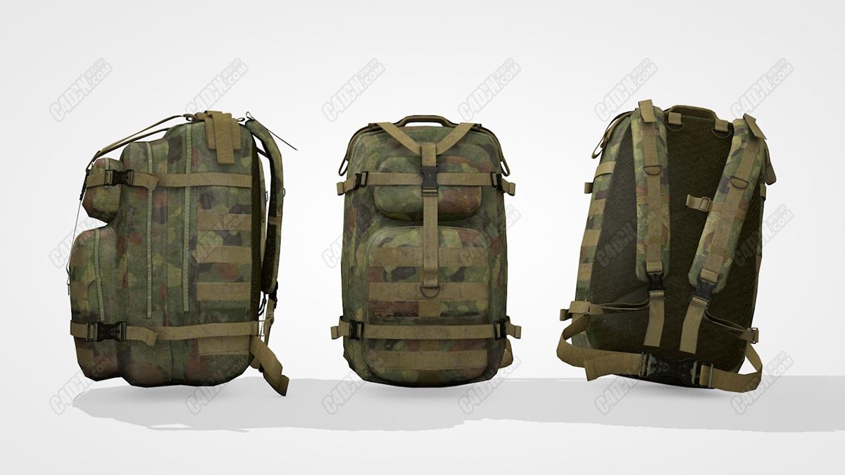 C4D模型-迷彩服背包 Military backpack