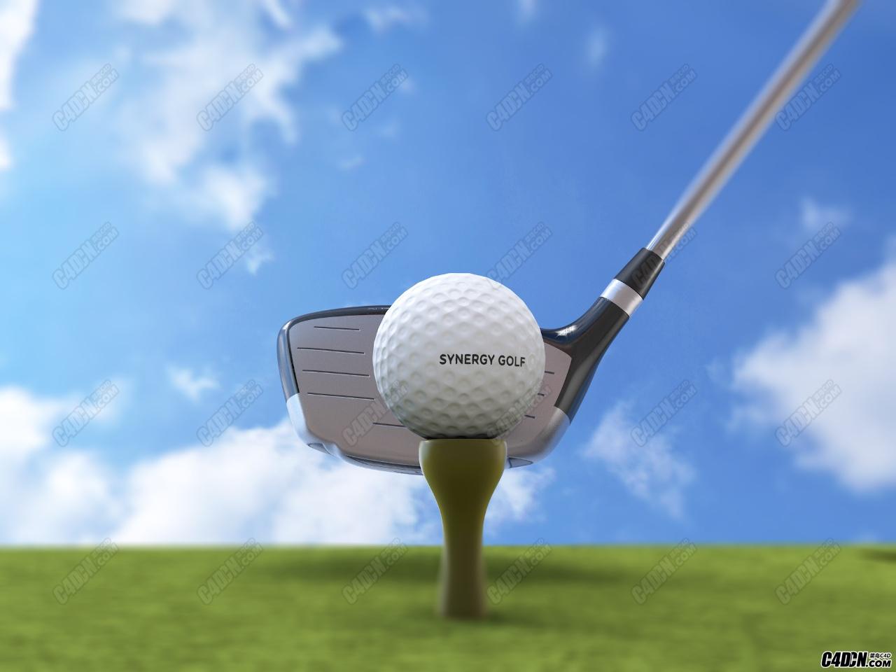 C4D模型-绿地上的高尔夫球 球杆模型