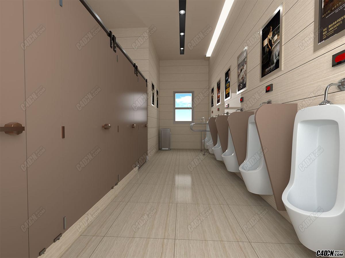 C4D模型 公共厕所效果图模型 redshift渲染CN