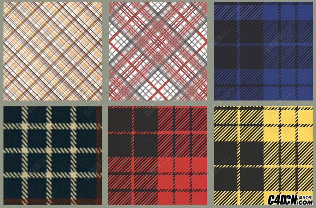16张方格子布料贴图素材