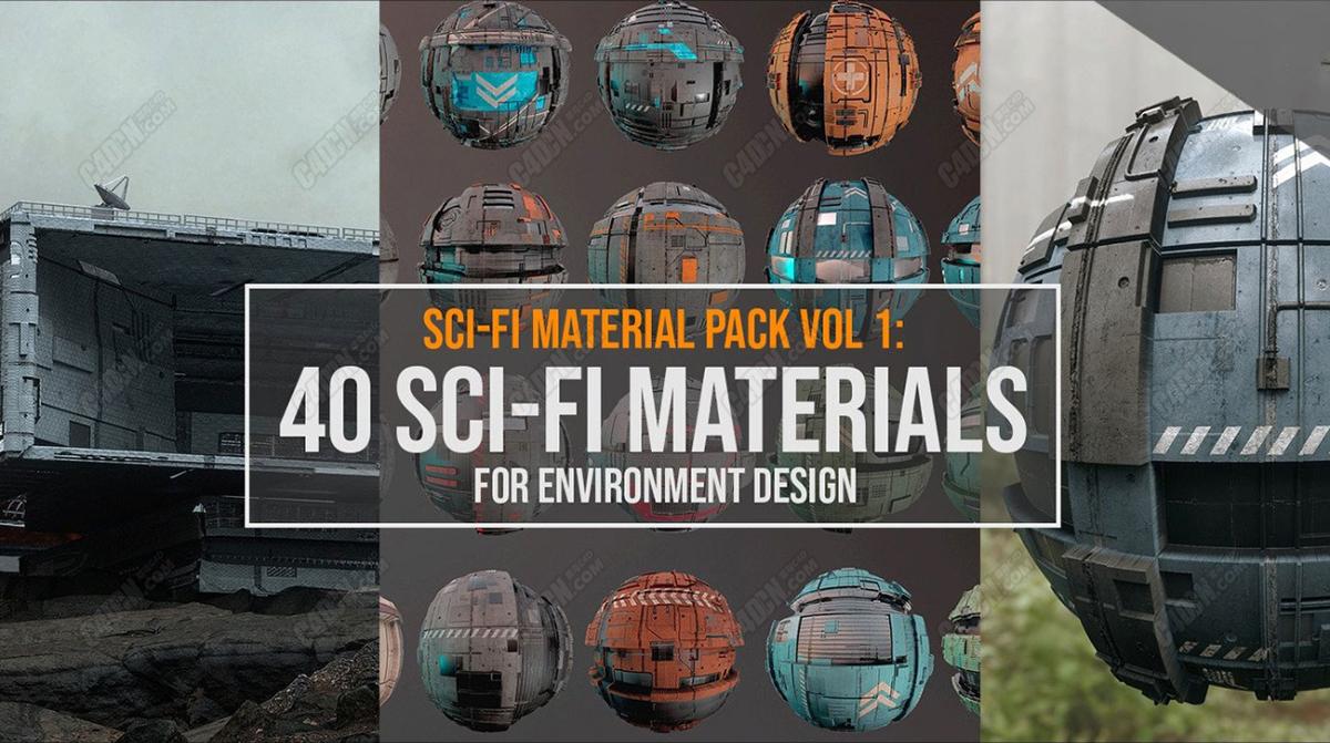 4K分辨率40张科幻硬表面样式贴图素材合集下载