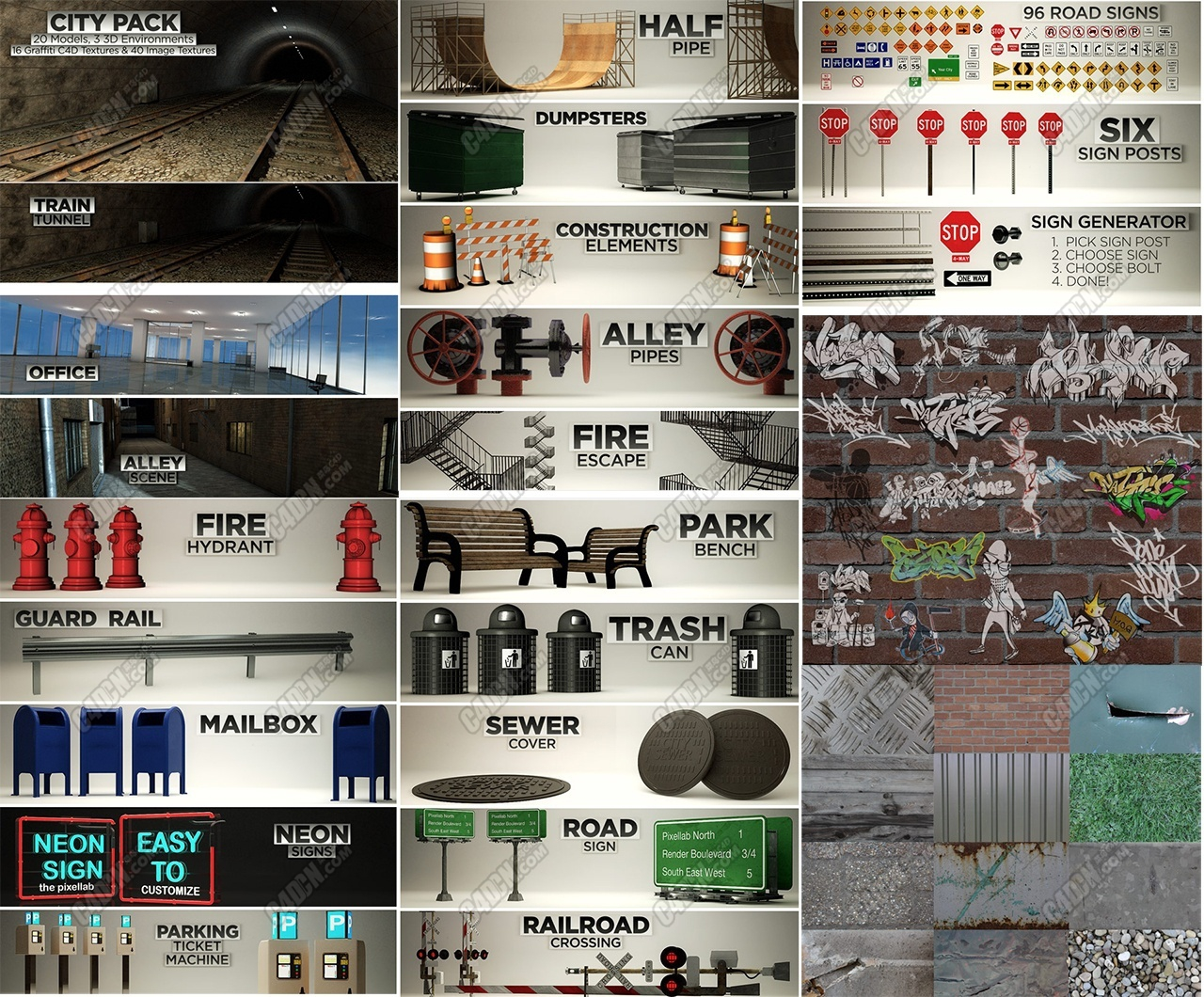 C4D城市建筑公共交通市政模型预设大合集