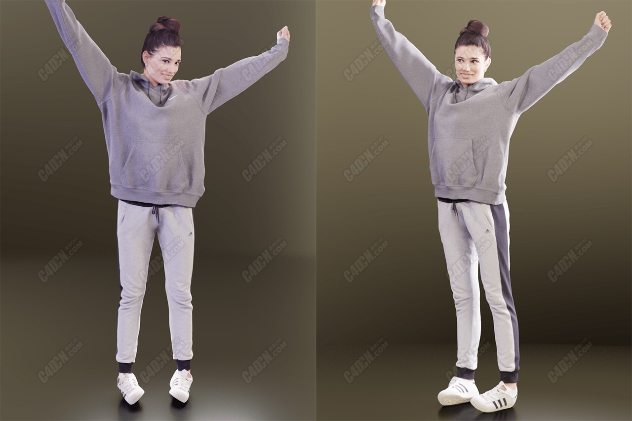 C4D模型-运动衣伸懒腰女孩模型 Casual Girl Stretching Scanned C4D model