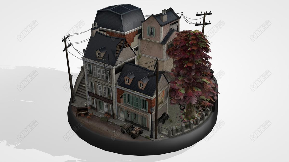 C4D模型-世界大战时期的别墅建筑手办模型