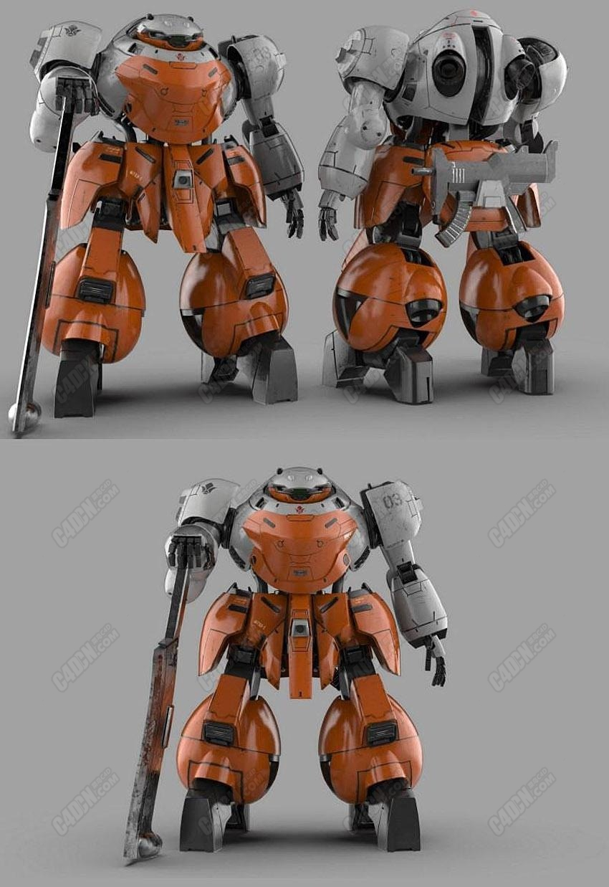 C4D模型-大型战斗机器人战争模型  UGY-R41 Landman Rodi