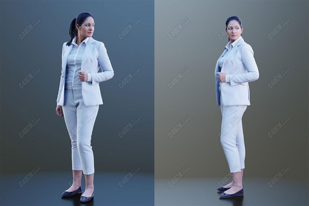 C4D模型-白色商务西装办公室女孩人物模型