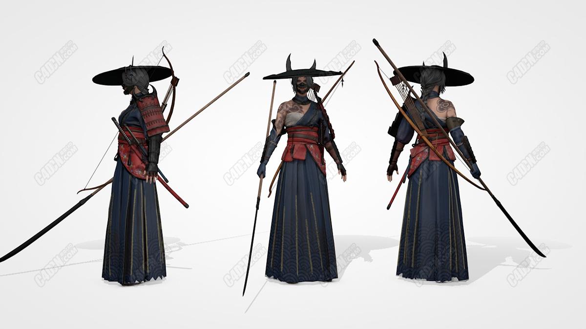 大刀弓箭武士夫人C4D模型 Samurai Lady C4D Model