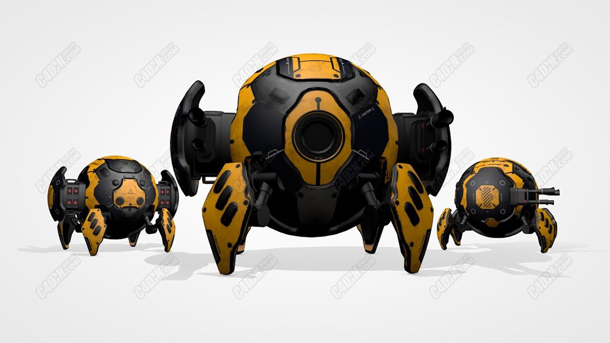 C4D球形蜘蛛仿生战斗机械武器模型