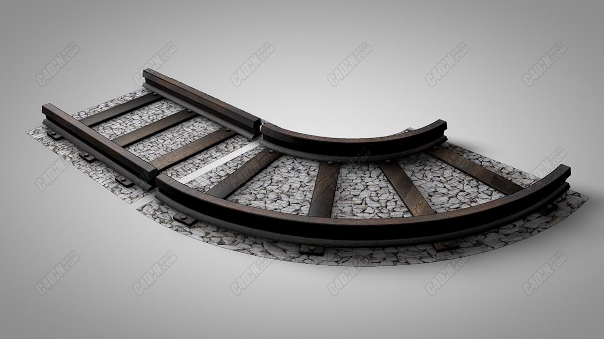 C4D精品铁路铁轨石子路模型素材