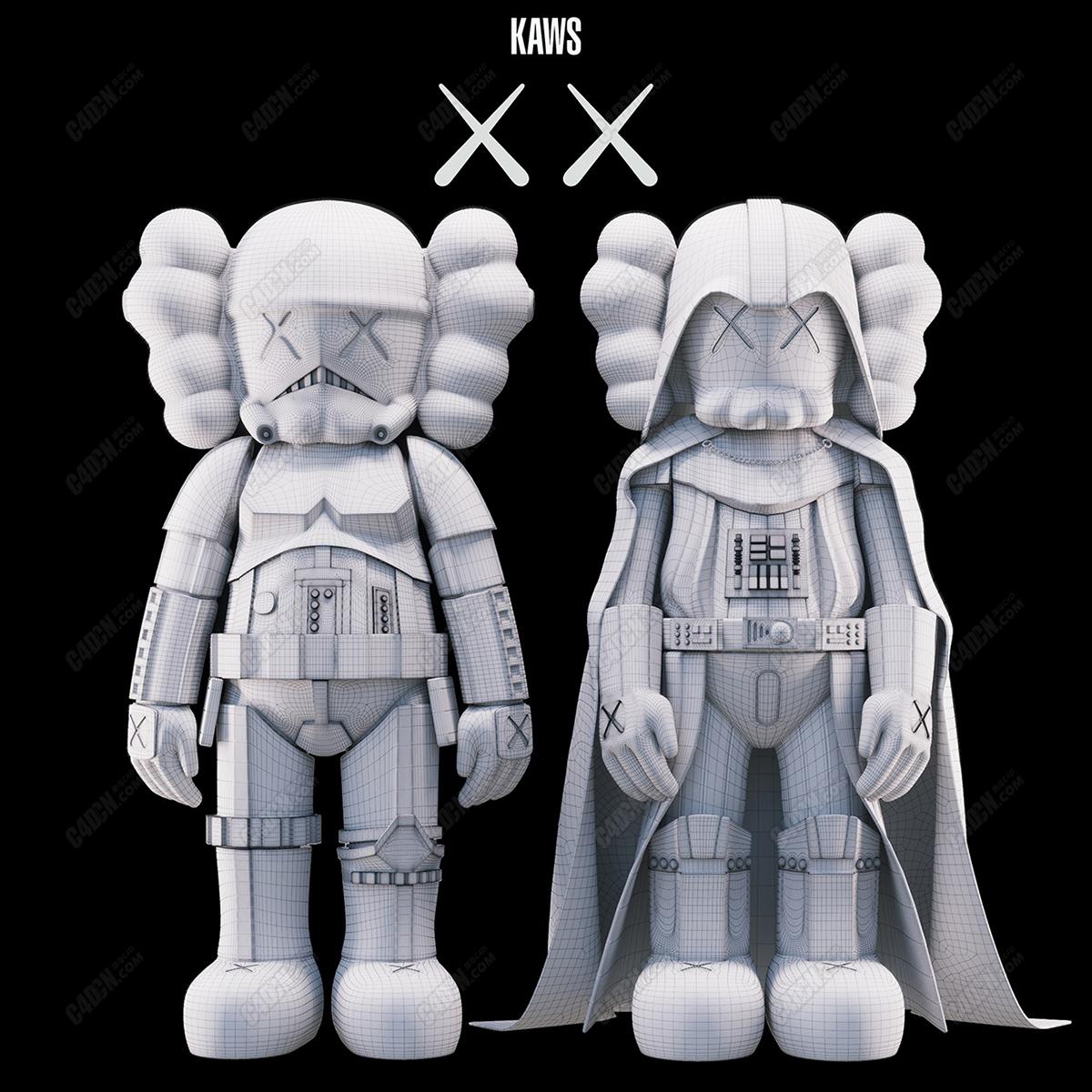 C4D卡通雕塑KAWS突击队员玩偶模型