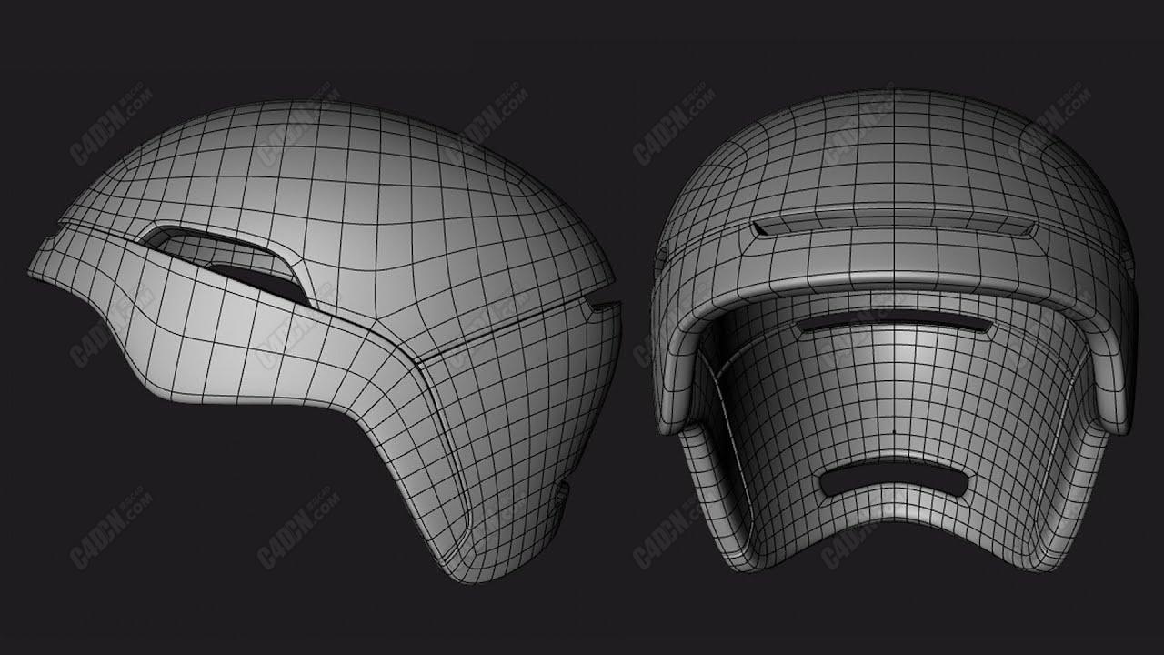 C4D教程-自行车头盔多边形笔刷拓扑建模教程