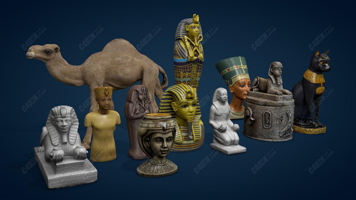 C4D古埃及神话元素雕塑模型合集