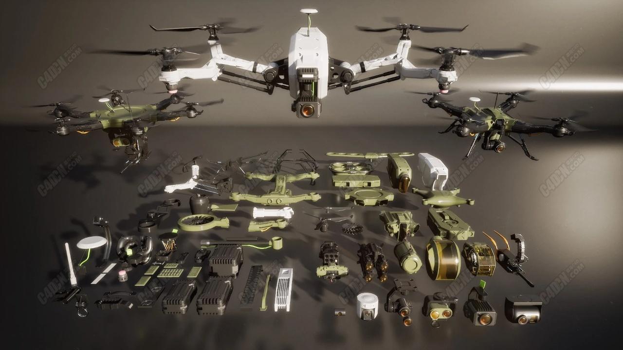 高精度C4D科幻无人机飞行器模型合集