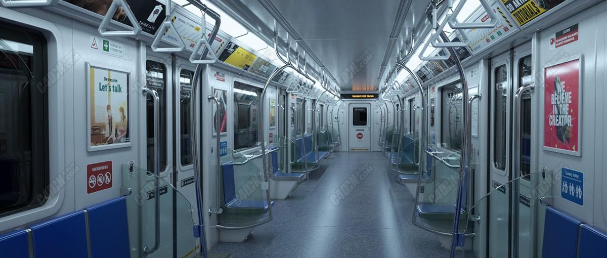C4D城市地铁车厢场景模型 Urban subway model
