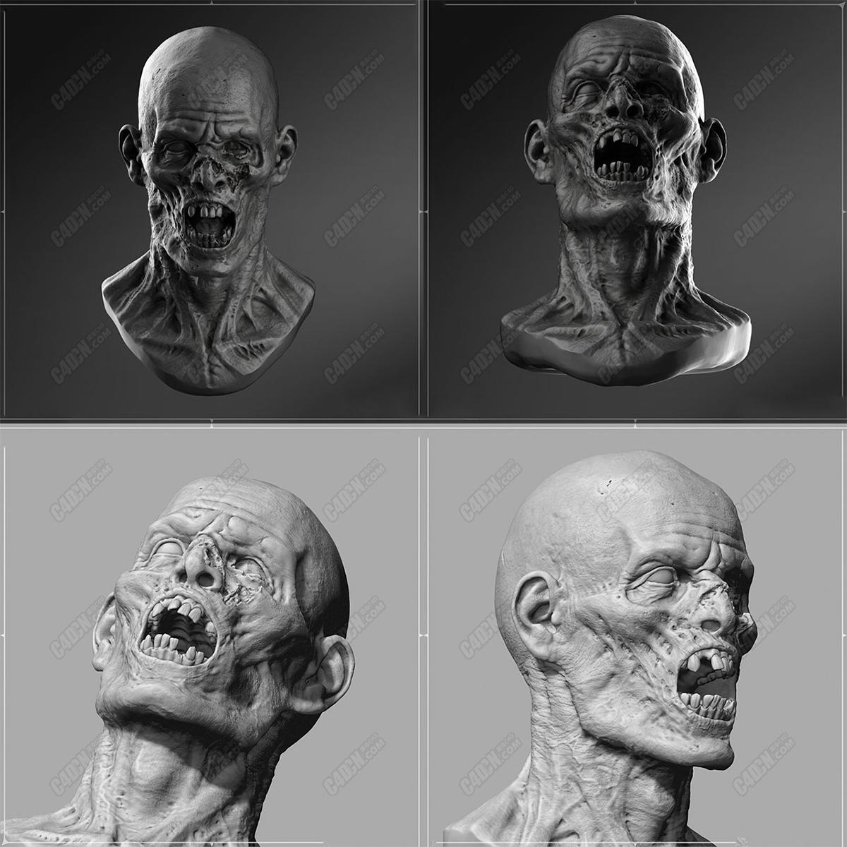 C4D高精度丧尸头像模型 Zombie avatar model