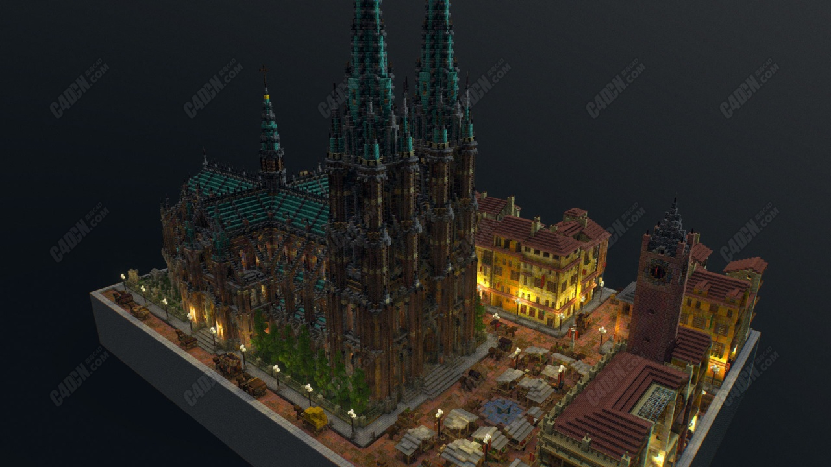 C4D积木广场建筑模型 Building block model