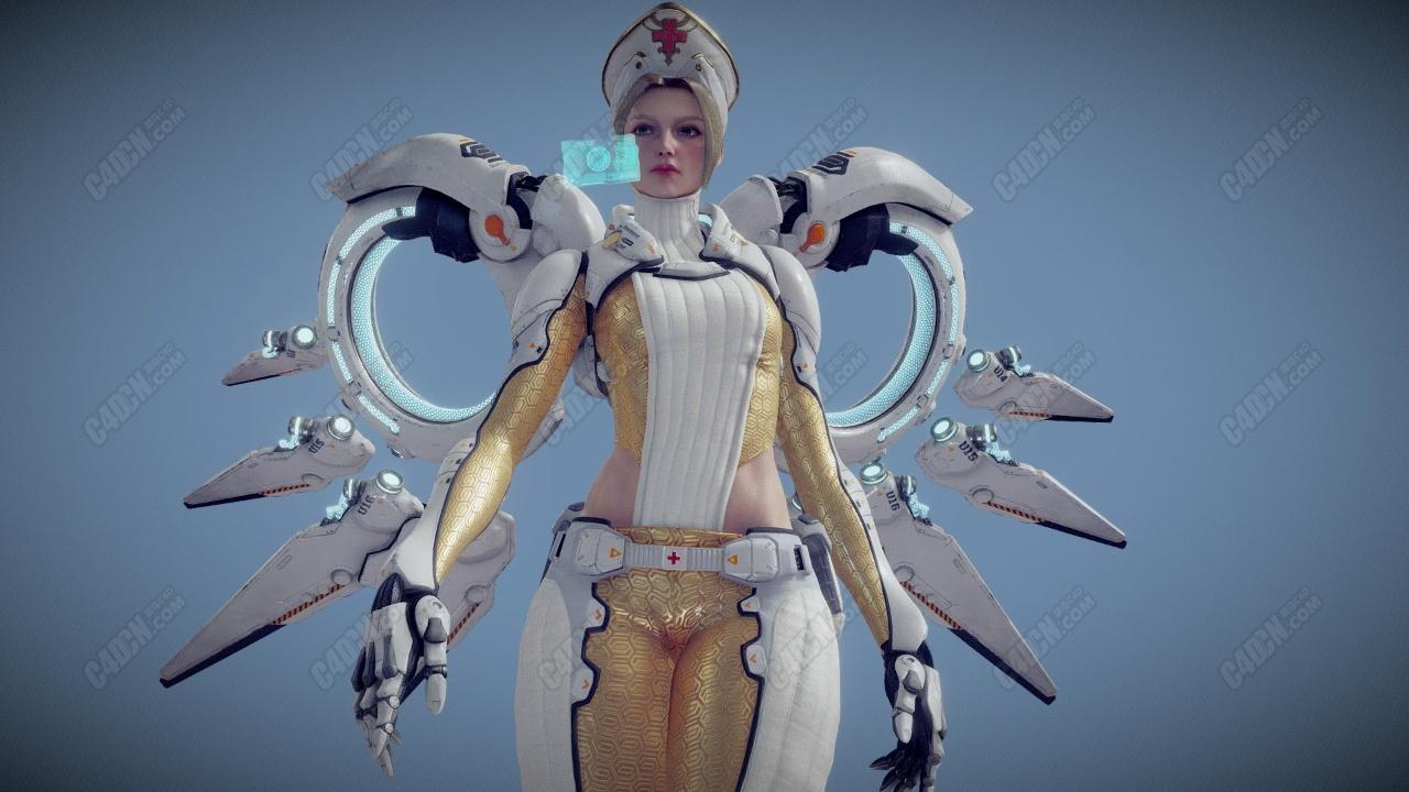 C4D未来科幻天使护士科技感人物模型