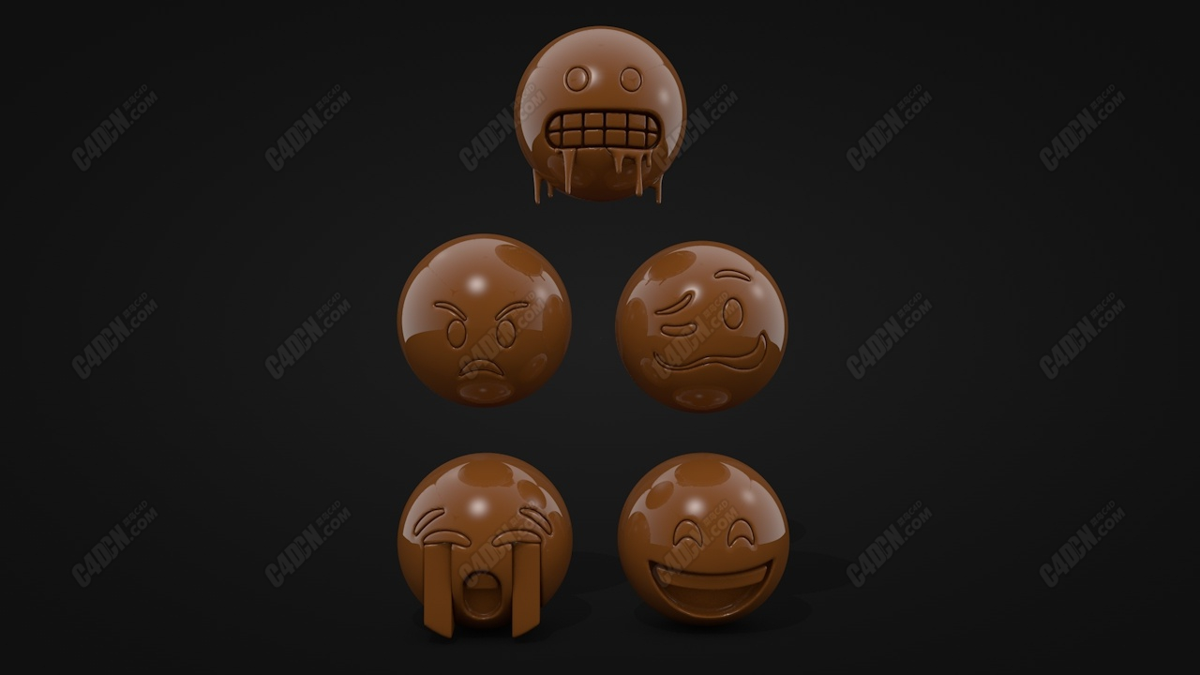 5个卡通球形表情符号C4D模型