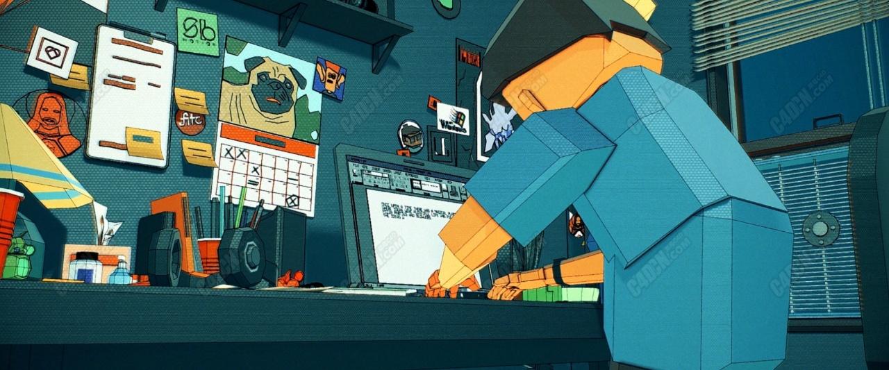 C4D优秀多边形简模卡通人物动画短片工程文件