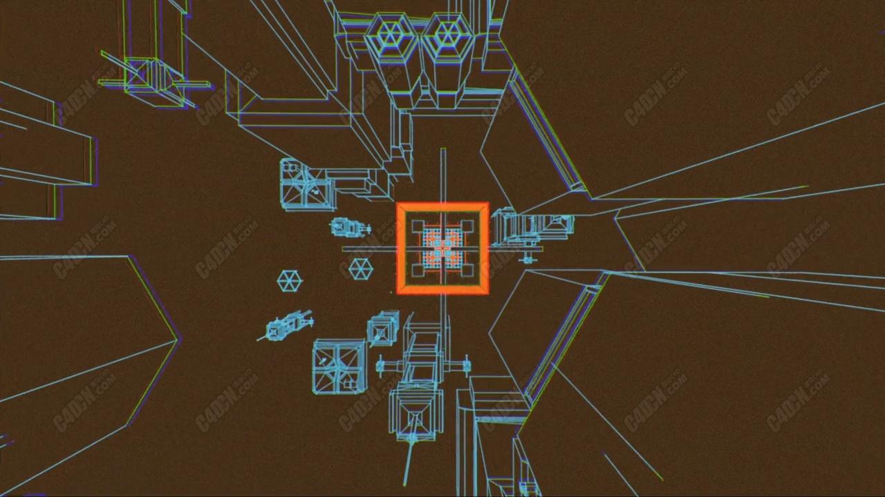 C4D创意线描元素镜头动画工程