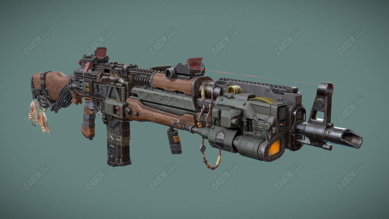 C4D赛博朋克改装步枪武器模型