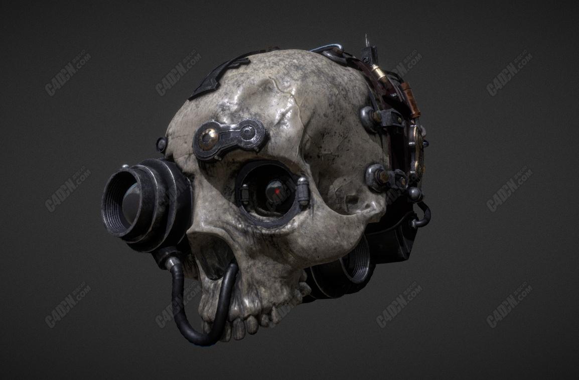 C4D科幻机械骷髅头骨模型(含绑定动画)