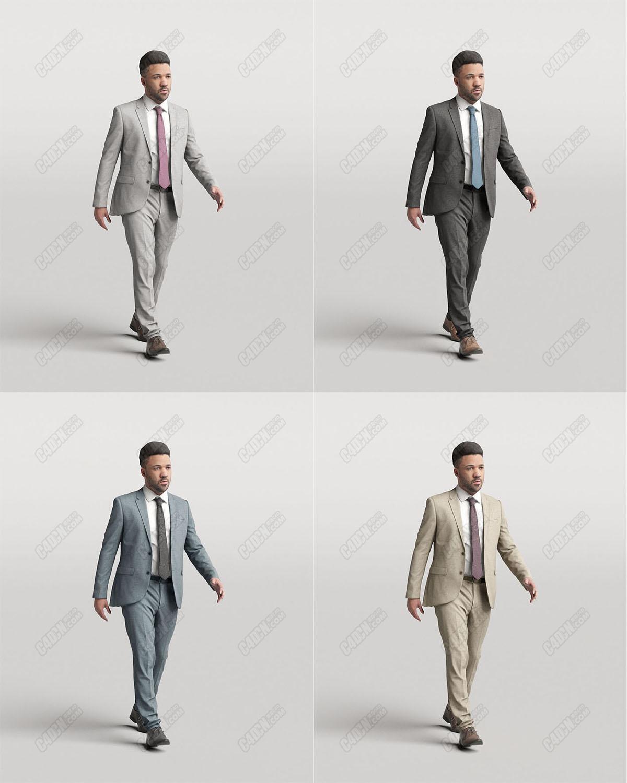 C4D行走中的西装领带商业男性模型(4配色)