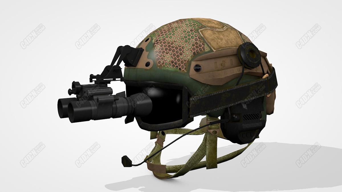 C4D士兵战术头盔模型 Tactical Helmet