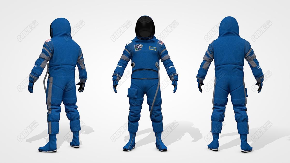 C4D波音航天员飞行服太空服模型