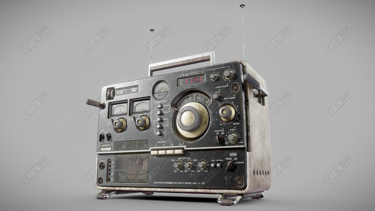 C4D日本索尼老式收音机模型 Sony CRF - 320 model