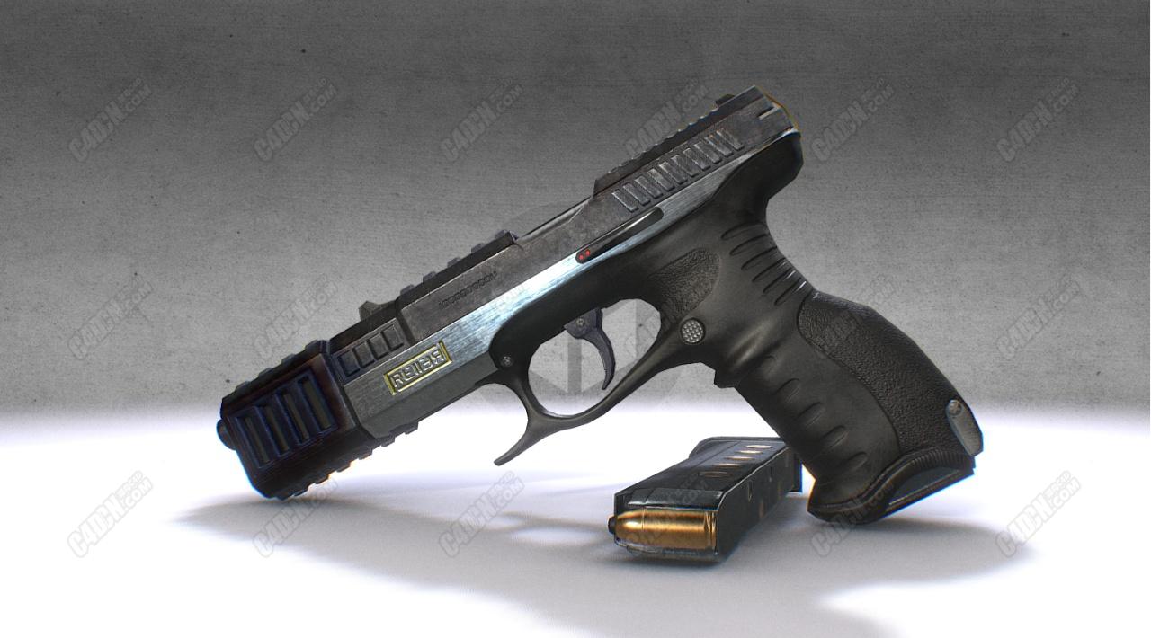 C4D模型-9毫米手枪武器模型
