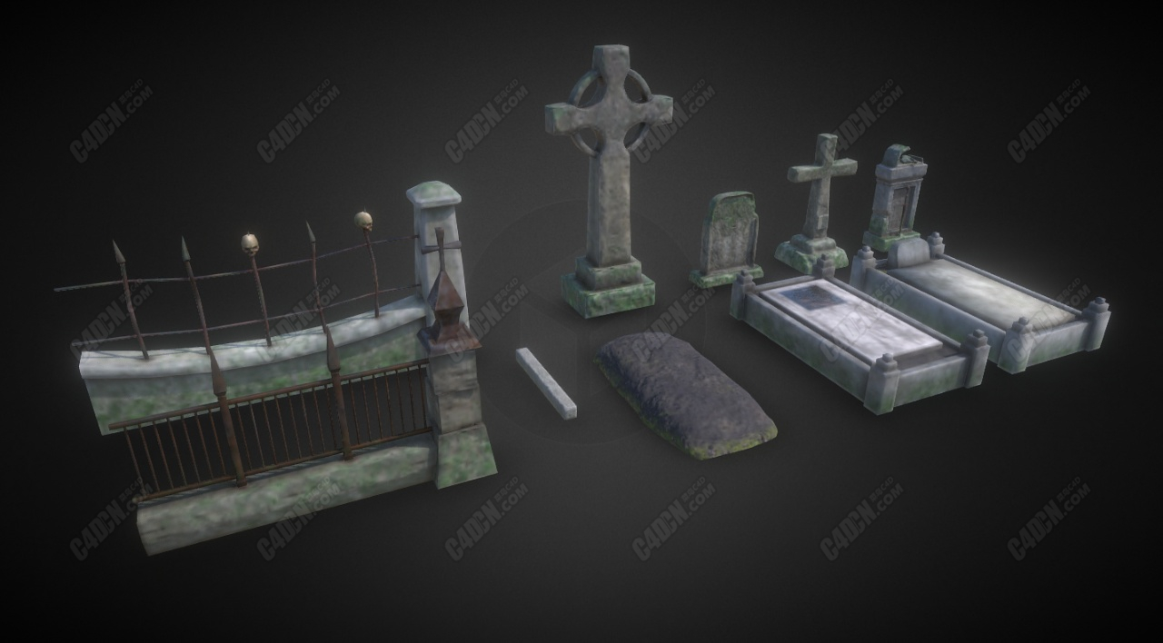 C4D墓地模型合集 asset graveyard the darkest red