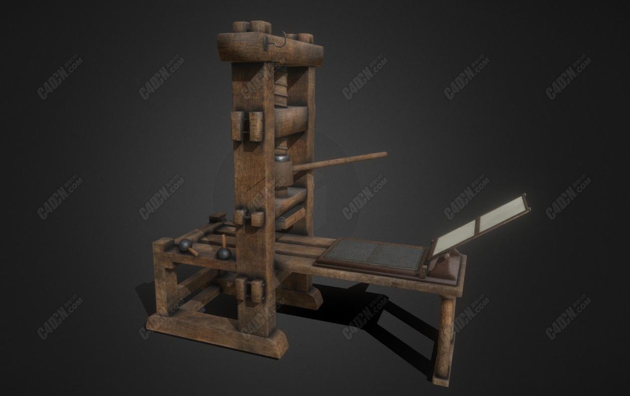 C4D老式印刷机模型 Printing press